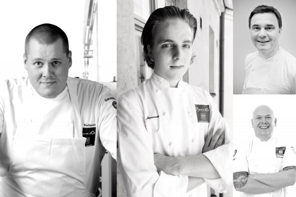 The talented Bocuse d´Or Team Finland 2015-2017: Competitor Eero Vottonen, Assistant Miikka Manninen, President Pekka Terävä and Coach Matti Jämsén